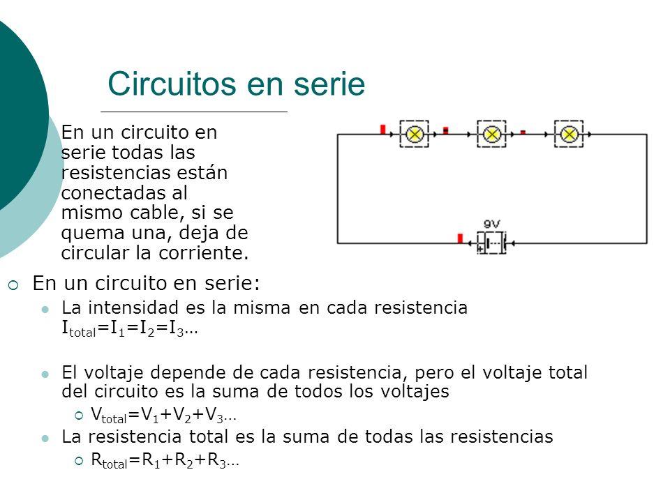Circuitos en serie En un circuito en serie: La intensidad es la misma en cada resistencia I total =I 1 =I 2 =I 3 … El voltaje depende de cada resistencia, pero el voltaje total del circuito es la suma de todos los voltajes V total =V 1 +V 2 +V 3 … La resistencia total es la suma de todas las resistencias R total =R 1 +R 2 +R 3 …