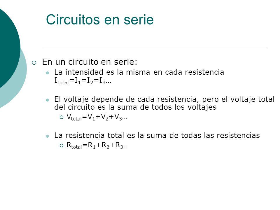 Circuitos en paralelo En un circuito en paralelo, cada resistencia está en una línea de corriente distinta, así que si una resistencia falla, las otras siguen funcionando