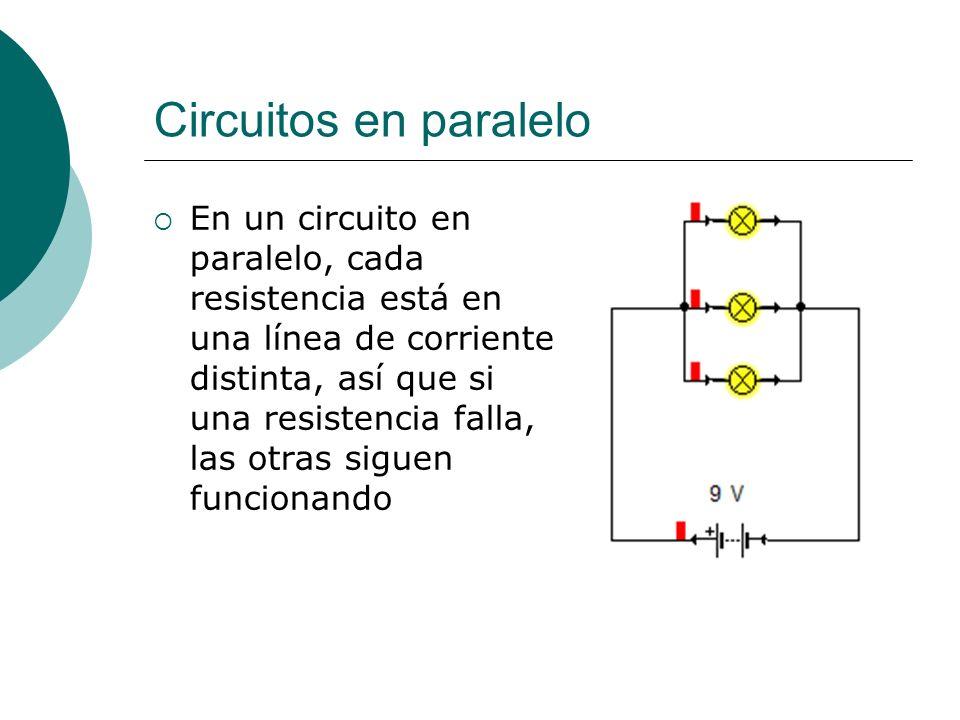 Circuitos en paralelo En un circuito en paralelo: La intensidad de corriente que sale de la pila se reparte entre las distintas resistencias, así que I total =I 1 +I 2 +I 3 … El voltaje es el mismo en cada resistencia V total =V 1 =V 2 =V 3 … Por cada resistencia que se agrega se agrega un camino más, así que, al haber más caminos, la corriente tienen menos dificultades para avanzar (La resistencia disminuye).