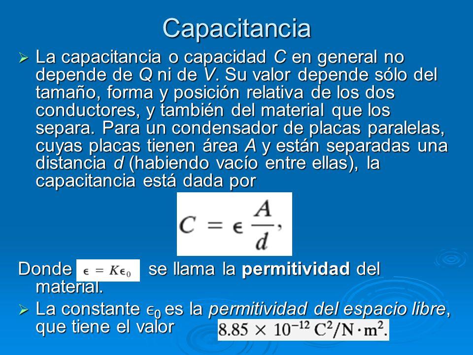 Capacitancia La capacitancia o capacidad C en general no depende de Q ni de V.