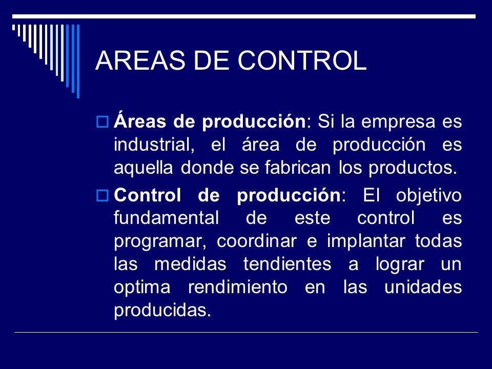 AREAS DE CONTROL Áreas de producción: Si la empresa es industrial, el área de producción es aquella donde se fabrican los productos. Control de produc