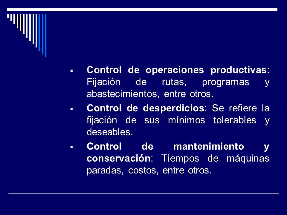Control de operaciones productivas: Fijación de rutas, programas y abastecimientos, entre otros. Control de desperdicios: Se refiere la fijación de su