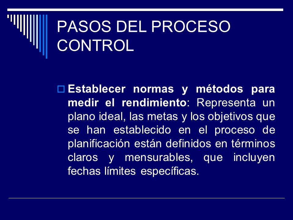 PASOS DEL PROCESO CONTROL Establecer normas y métodos para medir el rendimiento: Representa un plano ideal, las metas y los objetivos que se han estab