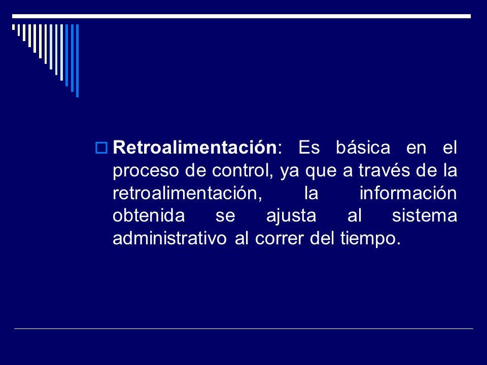 Retroalimentación: Es básica en el proceso de control, ya que a través de la retroalimentación, la información obtenida se ajusta al sistema administr