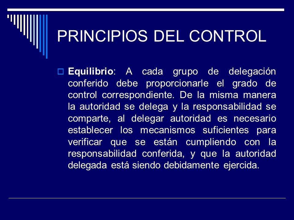PRINCIPIOS DEL CONTROL Equilibrio: A cada grupo de delegación conferido debe proporcionarle el grado de control correspondiente. De la misma manera la