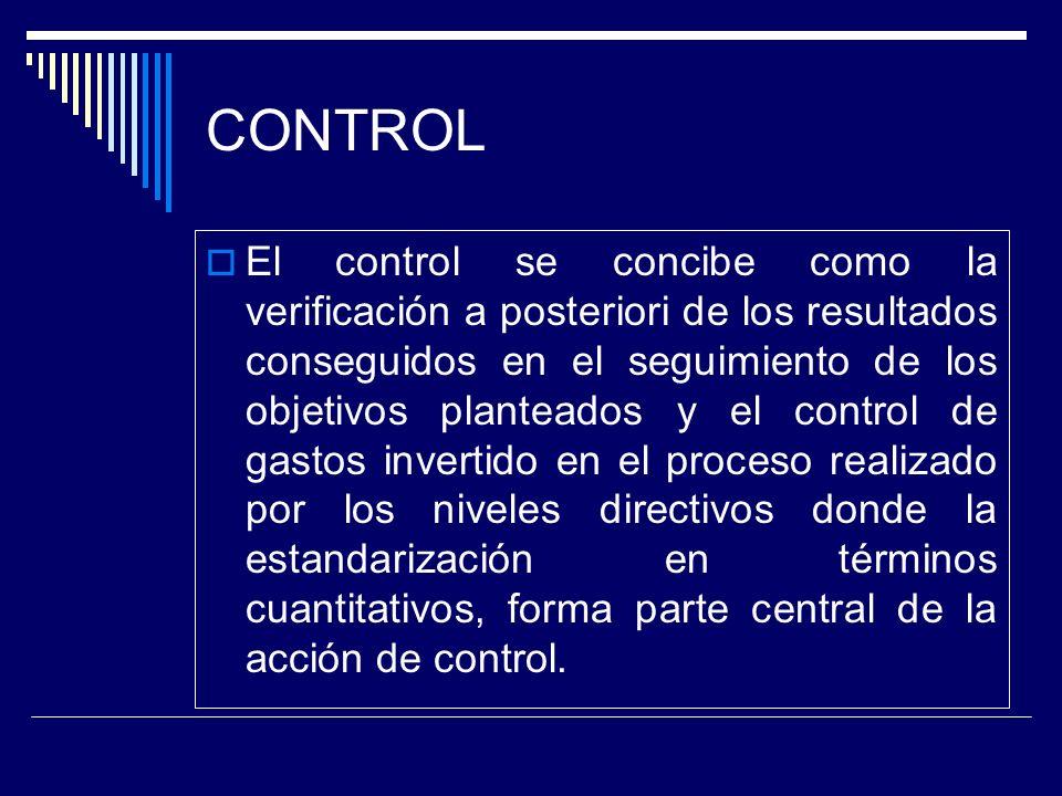 CONTROL El control se concibe como la verificación a posteriori de los resultados conseguidos en el seguimiento de los objetivos planteados y el contr