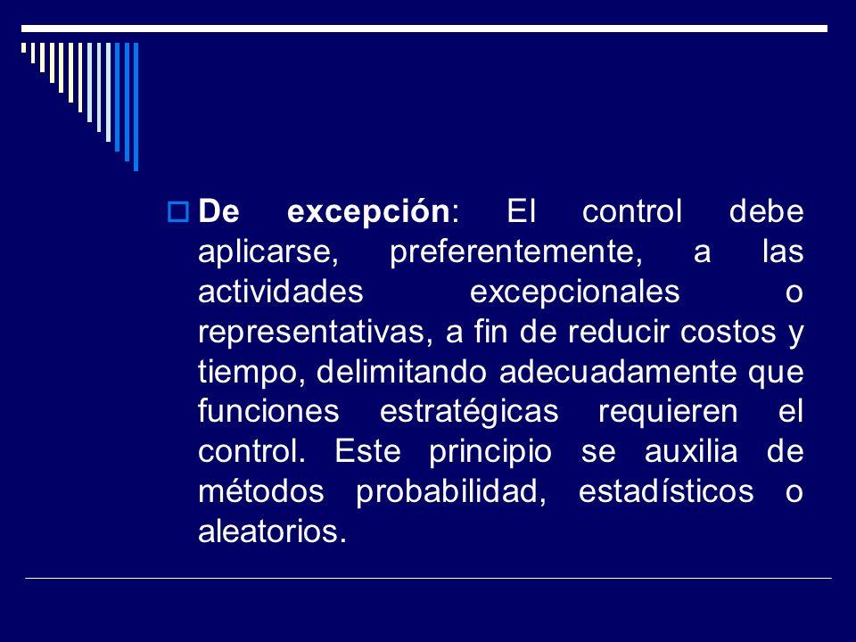 De excepción: El control debe aplicarse, preferentemente, a las actividades excepcionales o representativas, a fin de reducir costos y tiempo, delimit