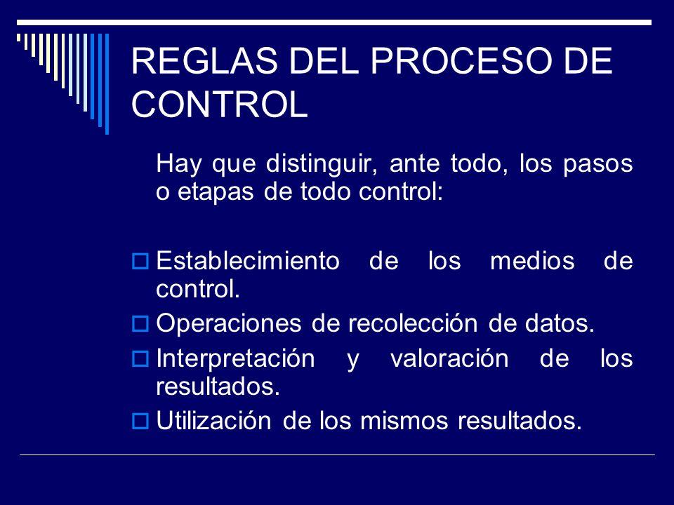 REGLAS DEL PROCESO DE CONTROL Hay que distinguir, ante todo, los pasos o etapas de todo control: Establecimiento de los medios de control. Operaciones