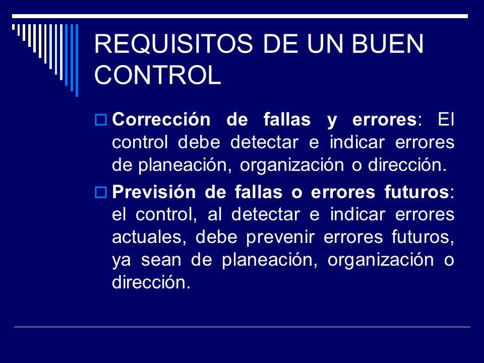 REQUISITOS DE UN BUEN CONTROL Corrección de fallas y errores: El control debe detectar e indicar errores de planeación, organización o dirección. Prev