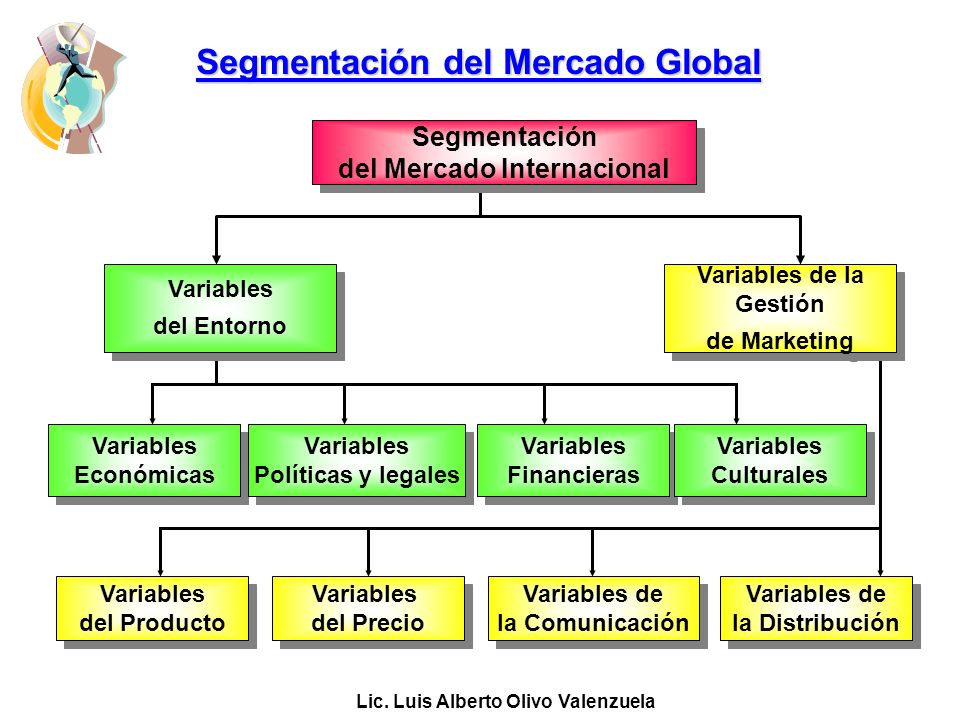 Lic. Luis Alberto Olivo Valenzuela Segmentación del Mercado Global Variables del Entorno Variables del Entorno Variables de la Gestión de Marketing Va