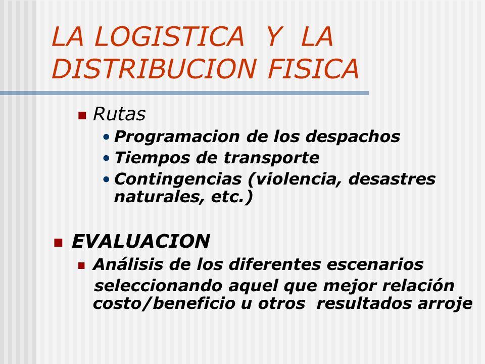 LA LOGISTICA Y LA DISTRIBUCION FISICA Rutas Programacion de los despachos Tiempos de transporte Contingencias (violencia, desastres naturales, etc.) E