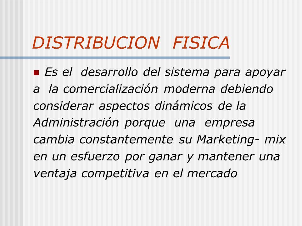 DISTRIBUCION FISICA Es el desarrollo del sistema para apoyar a la comercialización moderna debiendo considerar aspectos dinámicos de la Administración porque una empresa cambia constantemente su Marketing- mix en un esfuerzo por ganar y mantener una ventaja competitiva en el mercado