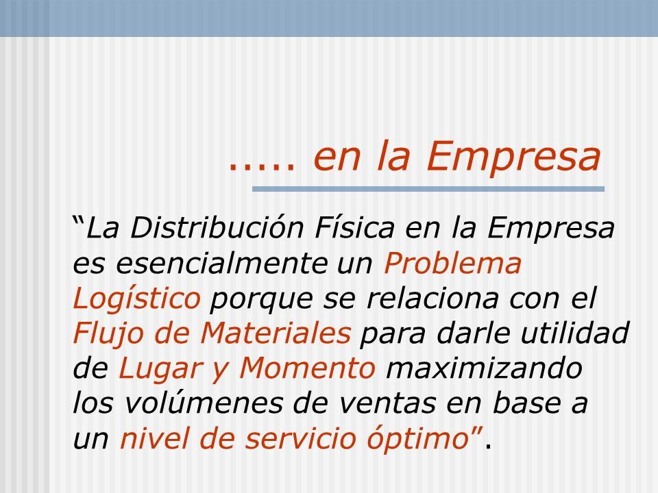 ..... en la Empresa La Distribución Física en la Empresa es esencialmente un Problema Logístico porque se relaciona con el Flujo de Materiales para da