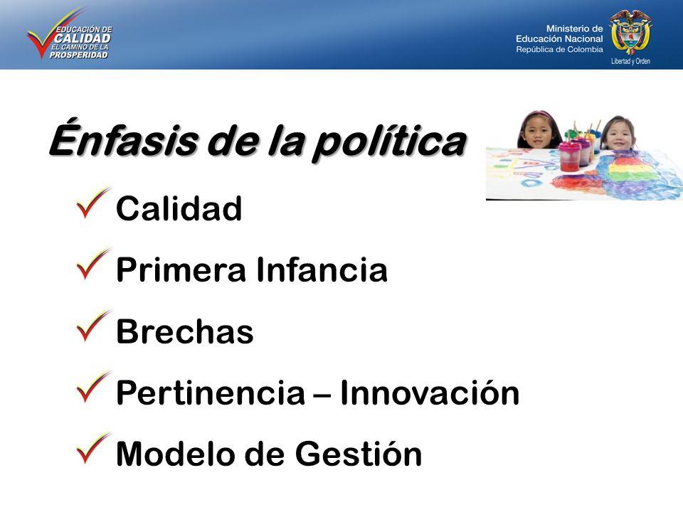 Énfasis de la política Calidad Primera Infancia Brechas Pertinencia – Innovación Modelo de Gestión