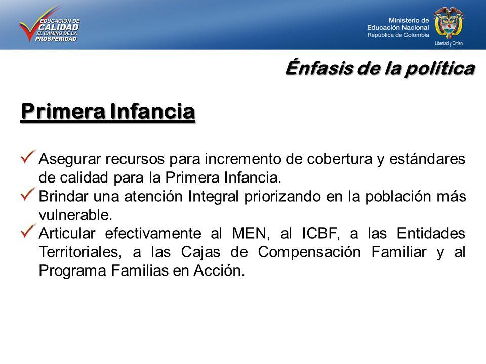 Énfasis de la política Primera Infancia Asegurar recursos para incremento de cobertura y estándares de calidad para la Primera Infancia.