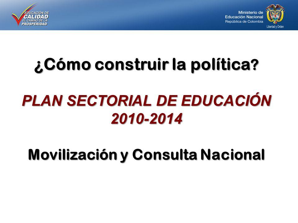 ¿Cómo construir la política ? PLAN SECTORIAL DE EDUCACIÓN 2010-2014 Movilización y Consulta Nacional