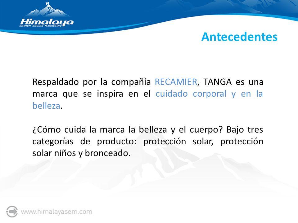Antecedentes Respaldado por la compañía RECAMIER, TANGA es una marca que se inspira en el cuidado corporal y en la belleza. ¿Cómo cuida la marca la be
