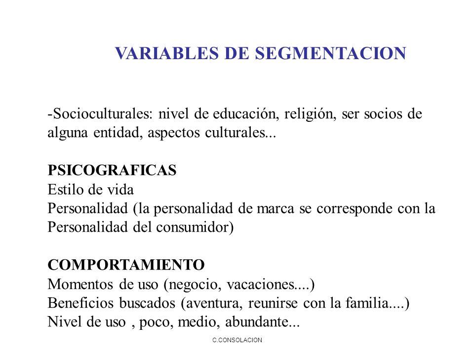C.CONSOLACION VARIABLES DE SEGMENTACION -Socioculturales: nivel de educación, religión, ser socios de alguna entidad, aspectos culturales... PSICOGRAF