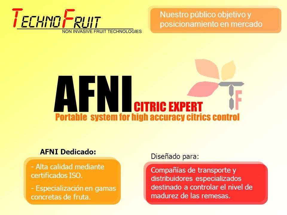 AFNI Dedicado: - Alta calidad mediante certificados ISO. - Especialización en gamas concretas de fruta. Compañías de transporte y distribuidores espec