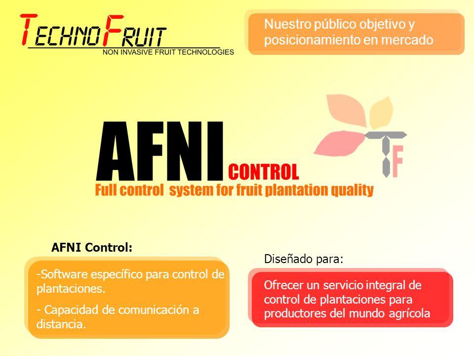AFNI Control: -Software específico para control de plantaciones. - Capacidad de comunicación a distancia. Ofrecer un servicio integral de control de p