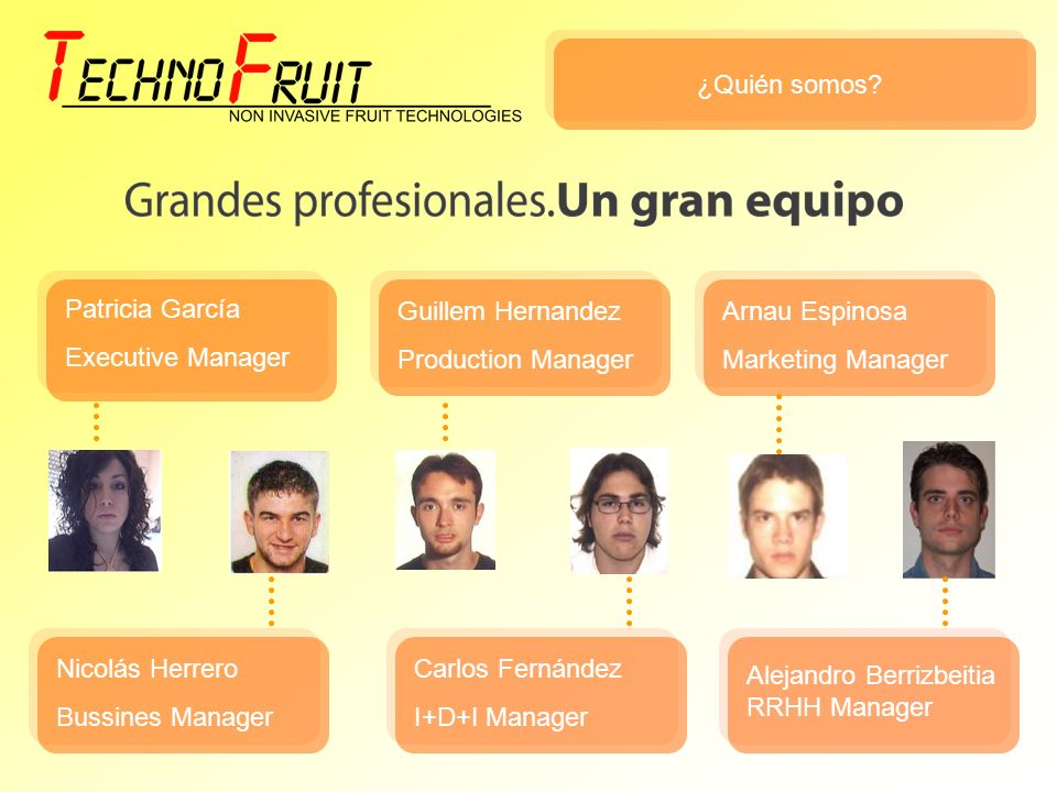 ¿Quién somos? Patricia García Executive Manager Nicolás Herrero Bussines Manager Guillem Hernandez Production Manager Carlos Fernández I+D+I Manager A