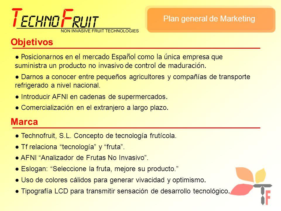 Plan general de Marketing Objetivos Posicionarnos en el mercado Español como la única empresa que suministra un producto no invasivo de control de mad