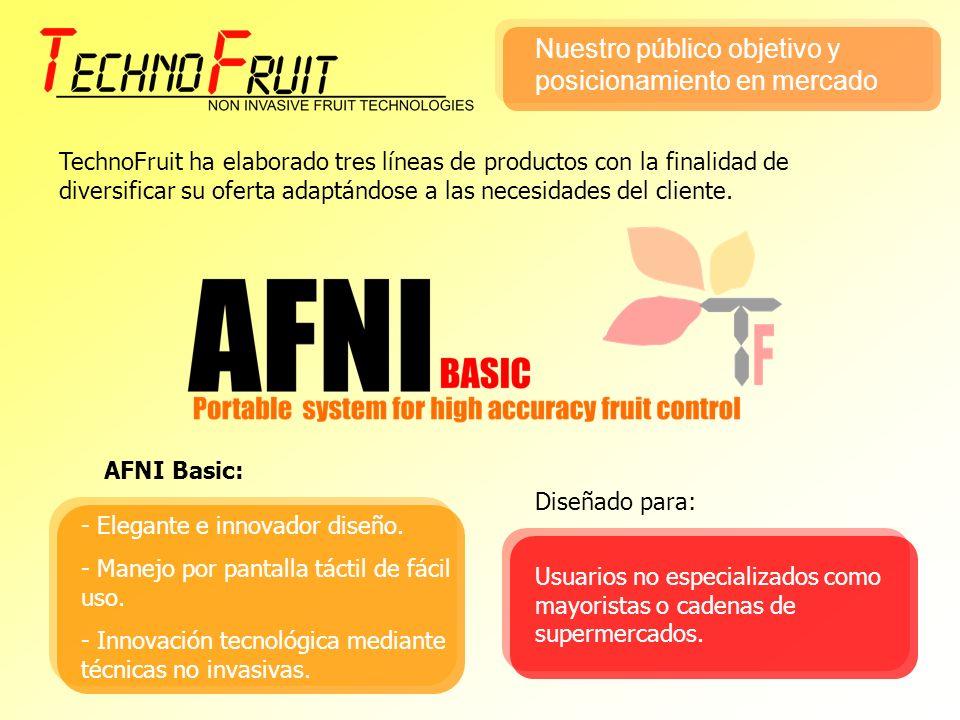 TechnoFruit ha elaborado tres líneas de productos con la finalidad de diversificar su oferta adaptándose a las necesidades del cliente. AFNI Basic: -