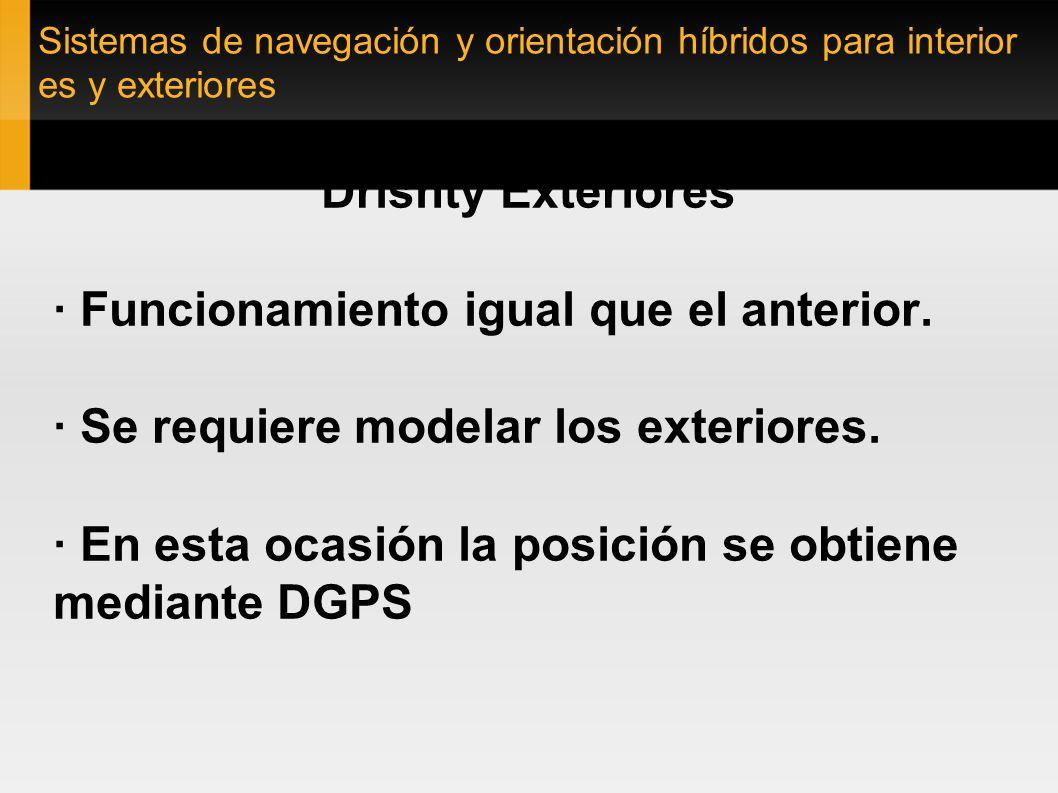 Sistemas de navegación y orientación híbridos para interior es y exteriores Drishty Exteriores · Funcionamiento igual que el anterior. · Se requiere m