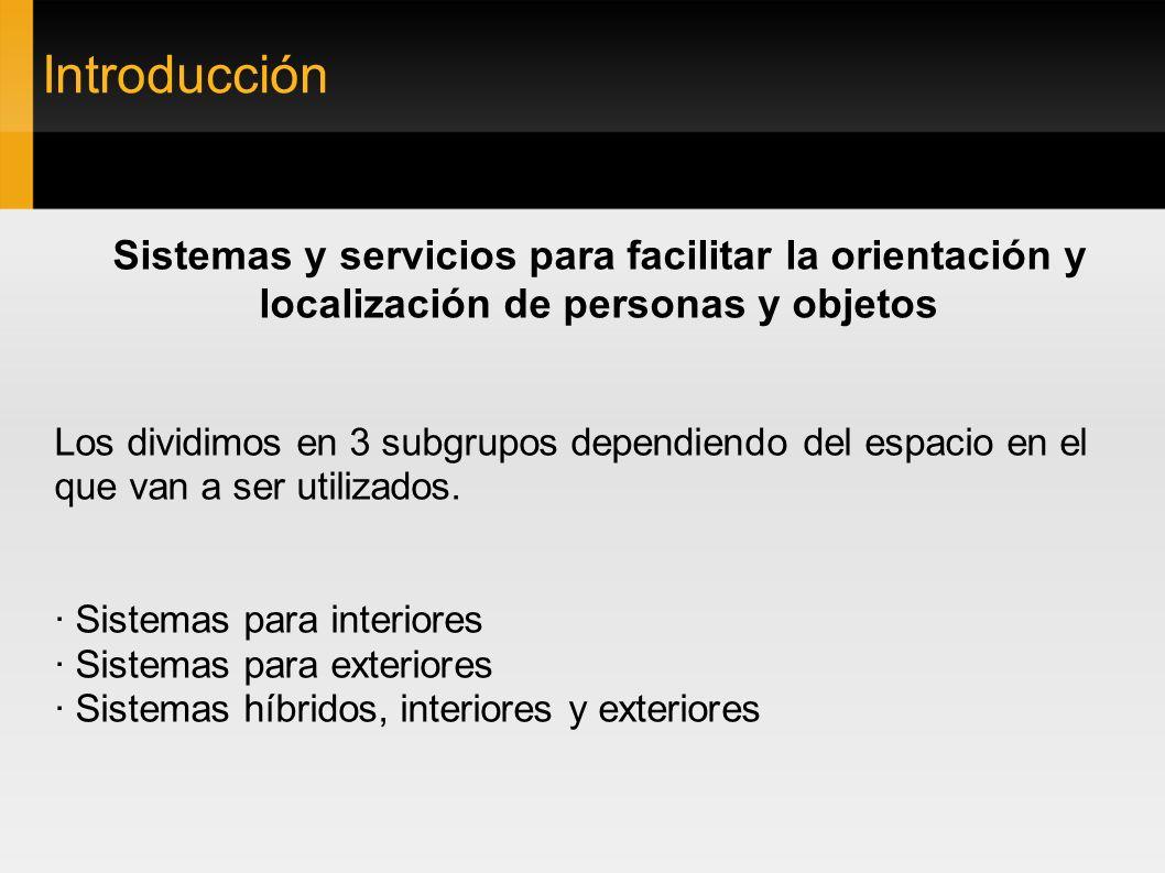 Introducción Sistemas y servicios para facilitar la orientación y localización de personas y objetos Los dividimos en 3 subgrupos dependiendo del espa