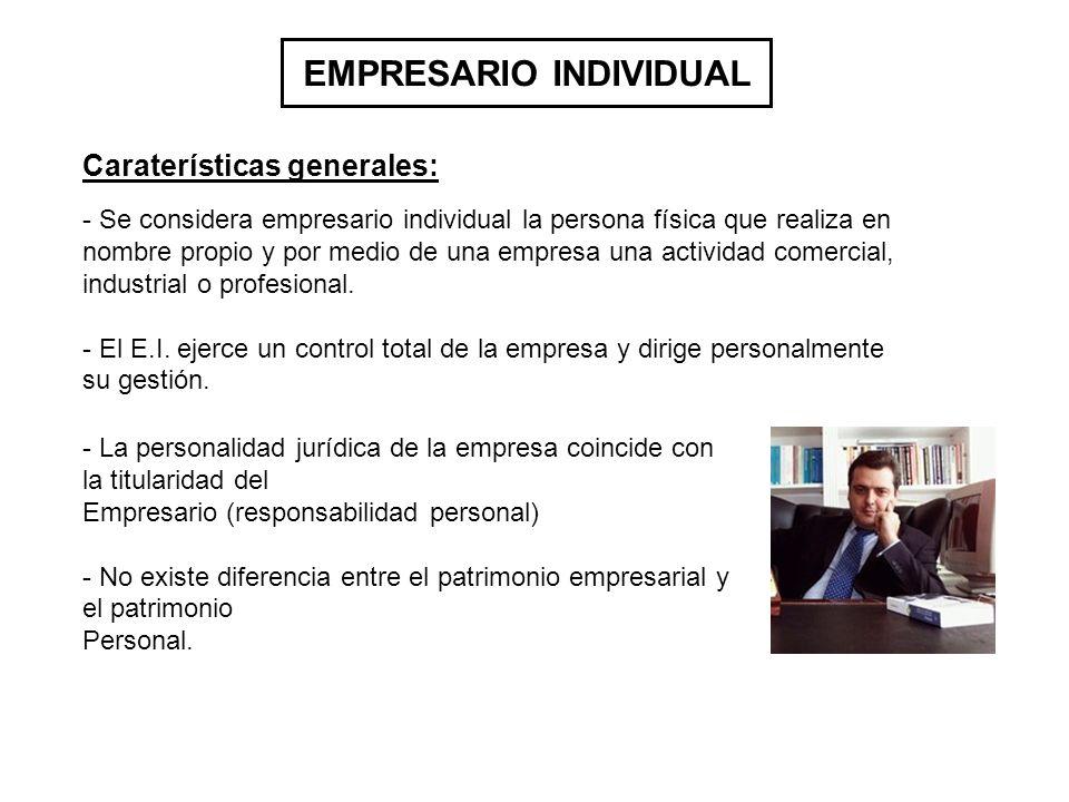 EMPRESARIO INDIVIDUAL - Se considera empresario individual la persona física que realiza en nombre propio y por medio de una empresa una actividad comercial, industrial o profesional.