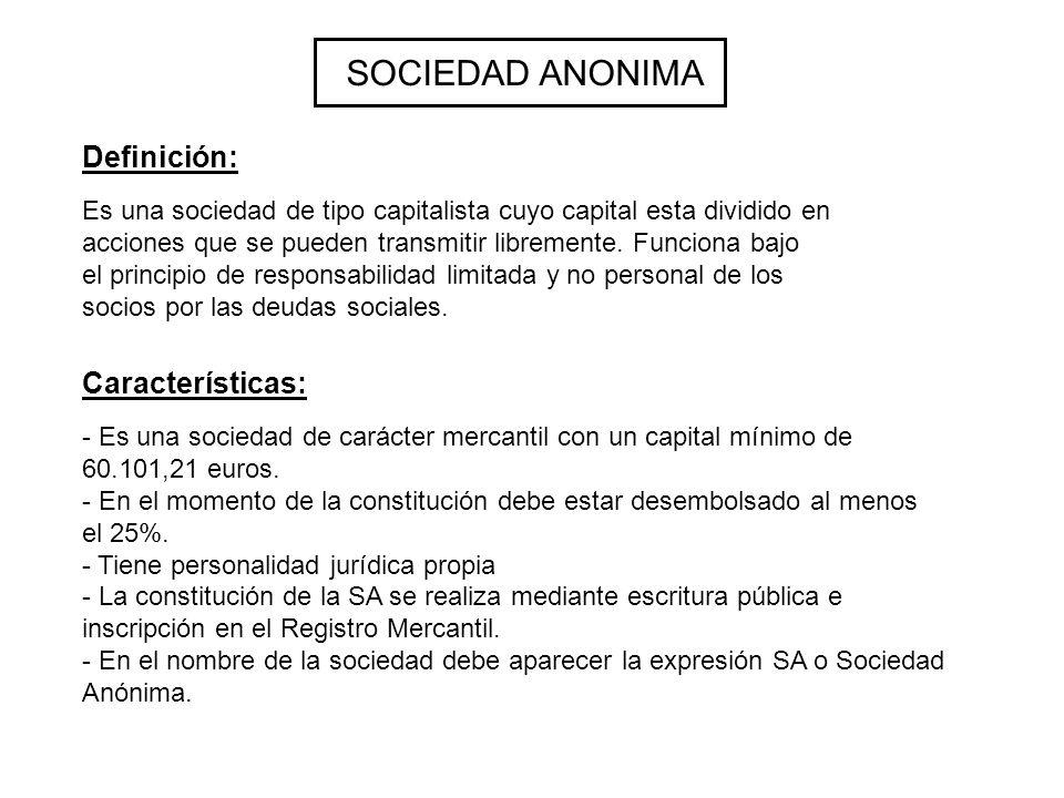 SOCIEDAD ANONIMA Es una sociedad de tipo capitalista cuyo capital esta dividido en acciones que se pueden transmitir libremente. Funciona bajo el prin