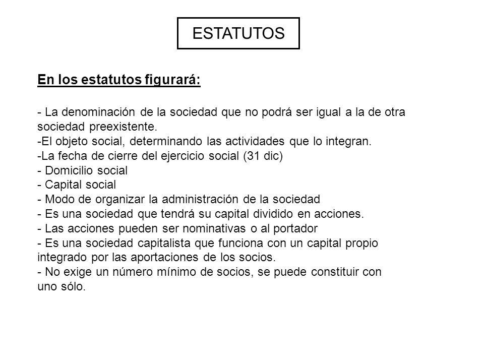 ESTATUTOS - La denominación de la sociedad que no podrá ser igual a la de otra sociedad preexistente.