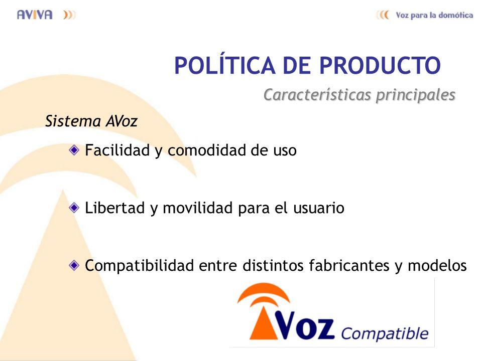POLÍTICA DE PRODUCTO Características principales Sistema AVoz Facilidad y comodidad de uso Libertad y movilidad para el usuario Compatibilidad entre d