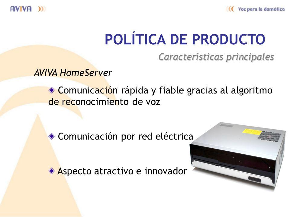 POLÍTICA DE PRODUCTO Características principales AVIVA HomeServer Comunicación rápida y fiable gracias al algoritmo de reconocimiento de voz Comunicac