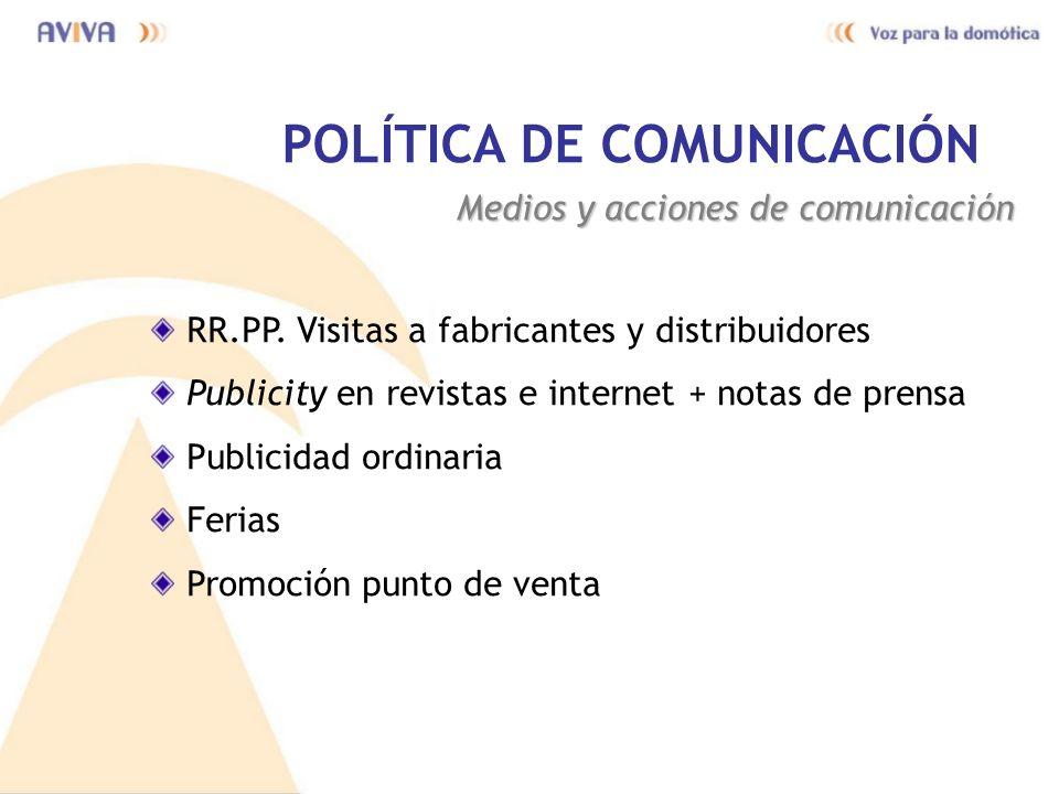 POLÍTICA DE COMUNICACIÓN Medios y acciones de comunicación RR.PP. Visitas a fabricantes y distribuidores Publicity en revistas e internet + notas de p