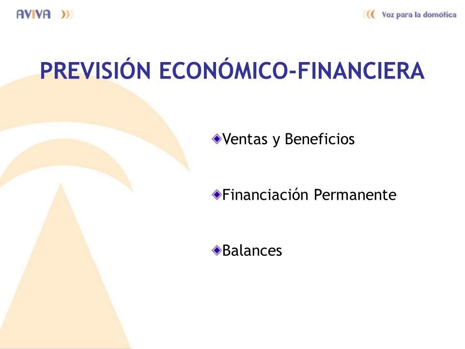 PREVISIÓN ECONÓMICO-FINANCIERA Ventas y Beneficios Financiación Permanente Balances