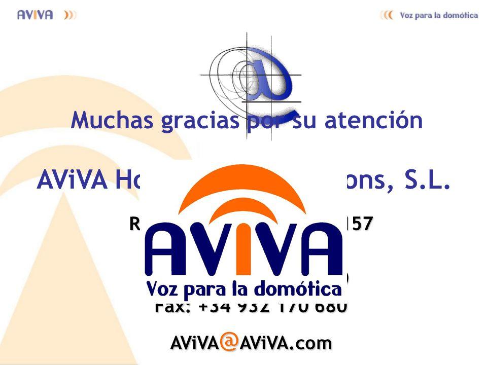 AViVA Home Voice Solutions, S.L. Rambla del Ploble Nou, 157 08014 Barcelona Tel.: +34 932 170 680 Fax: +34 932 170 680 AViVA@AViVA.com Muchas gracias