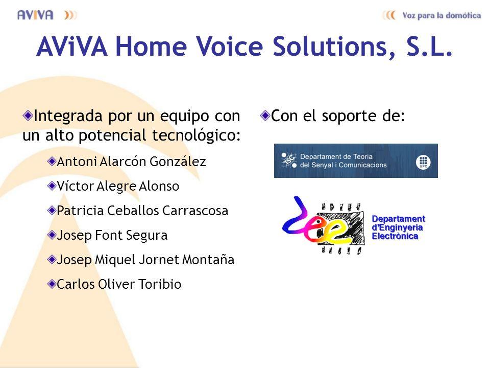AViVA Home Voice Solutions, S.L. Integrada por un equipo con un alto potencial tecnológico: Antoni Alarcón González Víctor Alegre Alonso Patricia Ceba