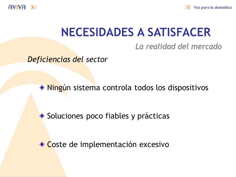 NECESIDADES A SATISFACER La realidad del mercado Deficiencias del sector Ningún sistema controla todos los dispositivos Soluciones poco fiables y prác