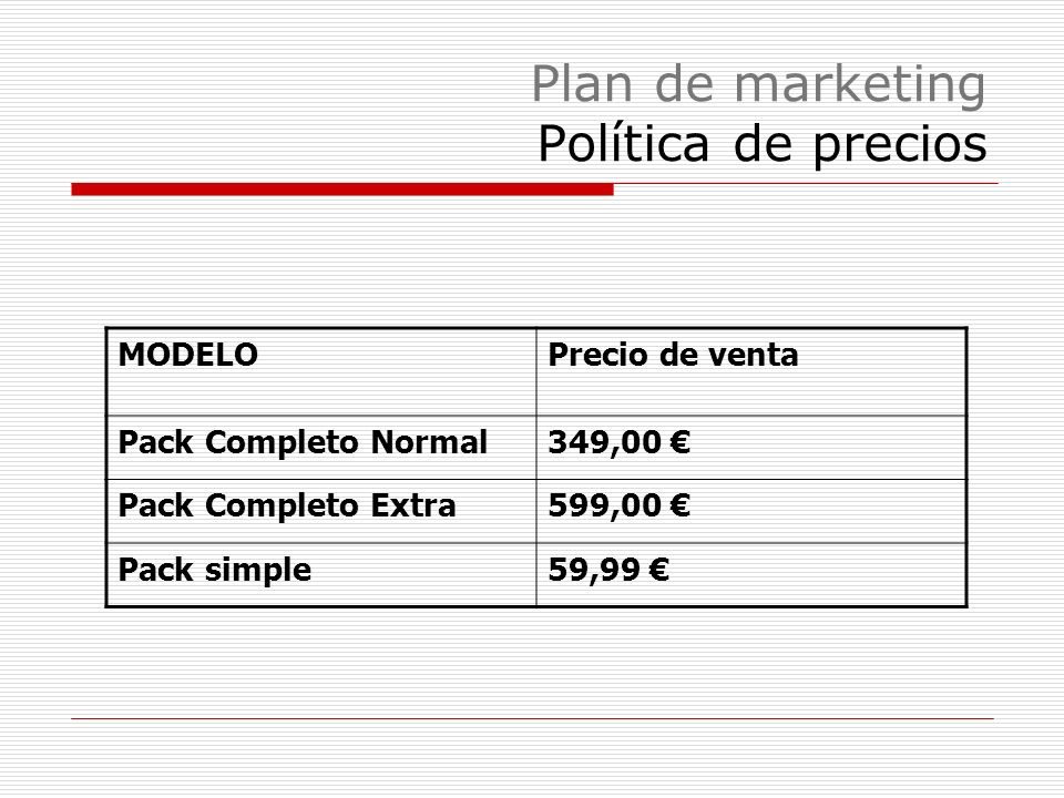 Plan de marketing Política de producto Pack simple para fabricantes de coches Pack completo normal a integrar en cualquier vehículo Pack completo extr