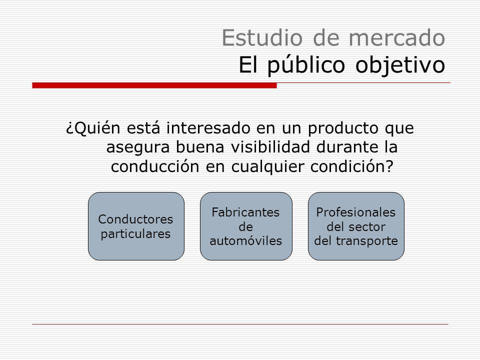 Estudio de mercado El público objetivo ¿Quién está interesado en un producto que asegura buena visibilidad durante la conducción en cualquier condición.