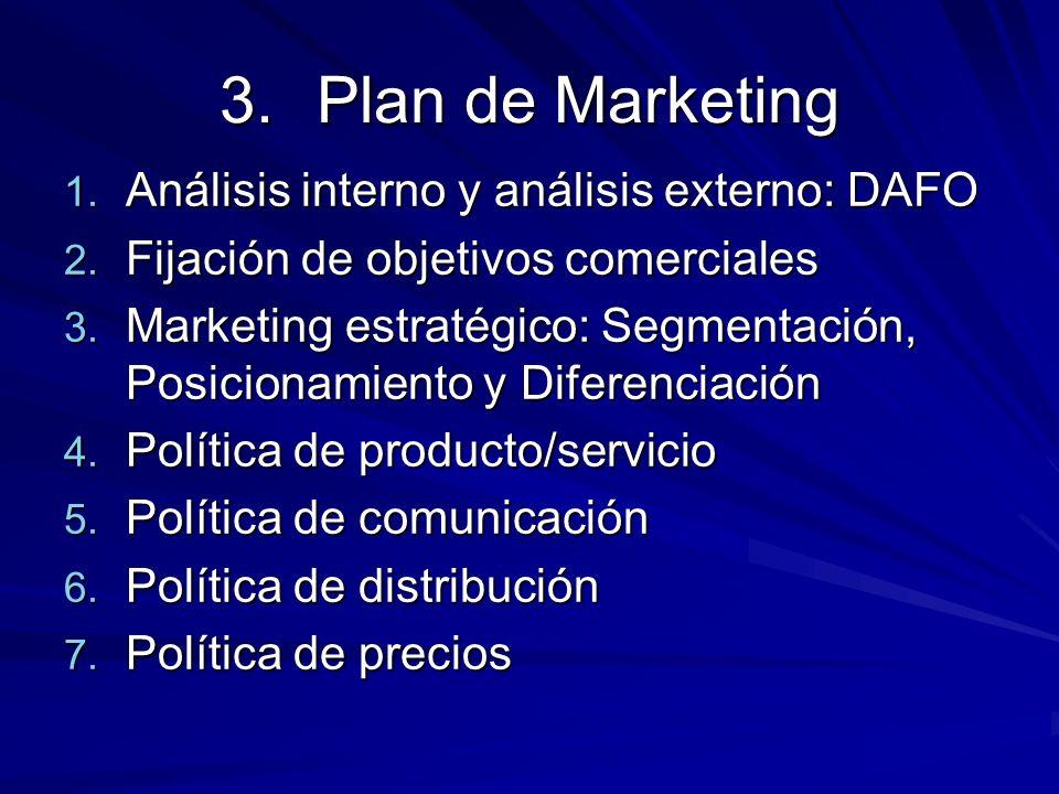 3.Plan de Marketing 1. Análisis interno y análisis externo: DAFO 2. Fijación de objetivos comerciales 3. Marketing estratégico: Segmentación, Posicion