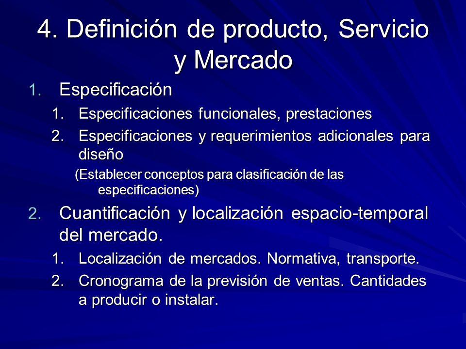 4. Definición de producto, Servicio y Mercado 1. Especificación 1.Especificaciones funcionales, prestaciones 2.Especificaciones y requerimientos adici