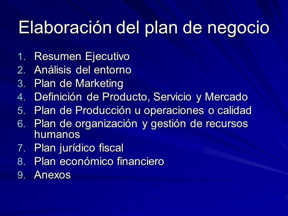 Elaboración del plan de negocio 1. Resumen Ejecutivo 2. Análisis del entorno 3. Plan de Marketing 4. Definición de Producto, Servicio y Mercado 5. Pla