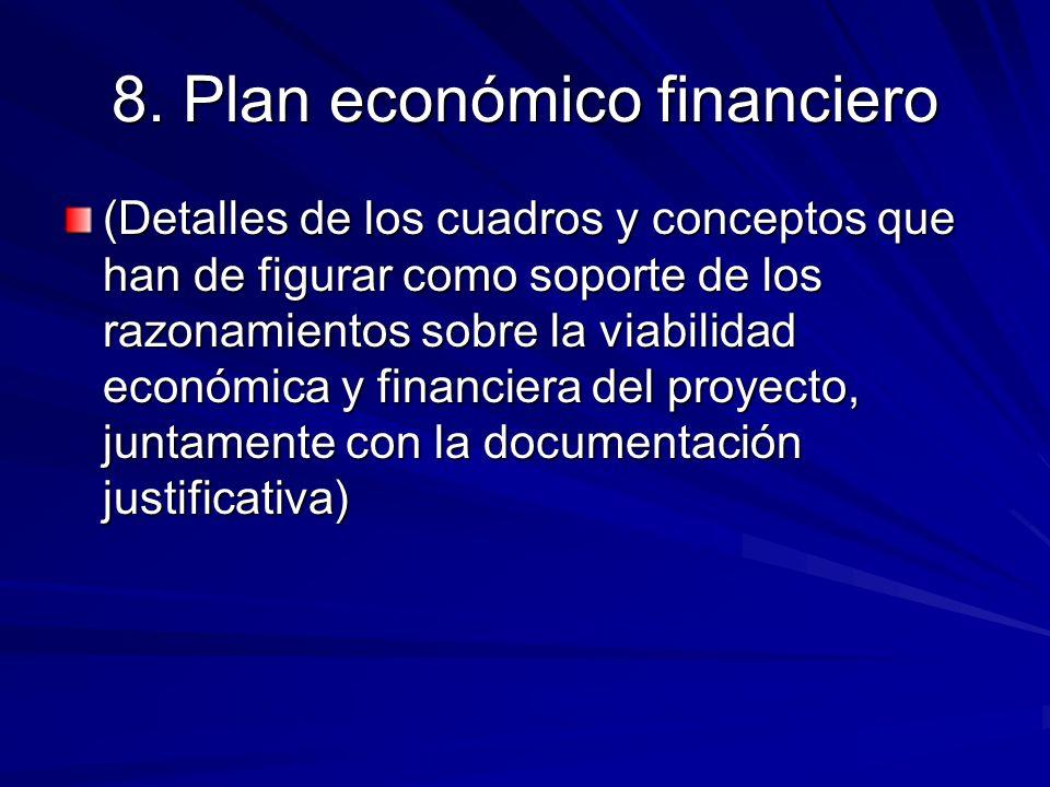 8. Plan económico financiero (Detalles de los cuadros y conceptos que han de figurar como soporte de los razonamientos sobre la viabilidad económica y