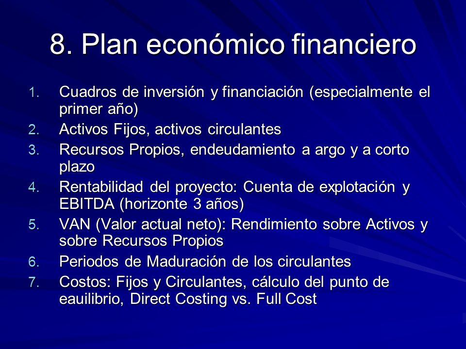8. Plan económico financiero 1. Cuadros de inversión y financiación (especialmente el primer año) 2. Activos Fijos, activos circulantes 3. Recursos Pr