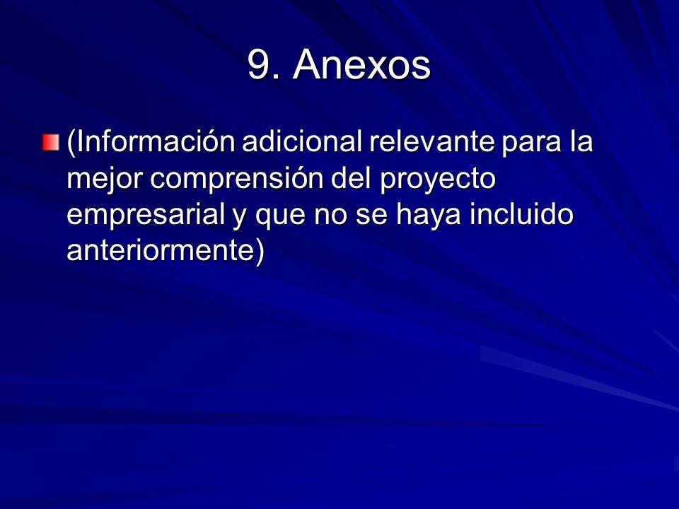 9. Anexos (Información adicional relevante para la mejor comprensión del proyecto empresarial y que no se haya incluido anteriormente)