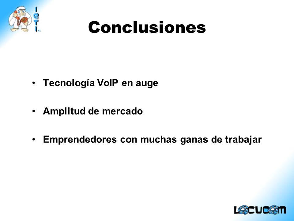 Conclusiones Tecnología VoIP en auge Amplitud de mercado Emprendedores con muchas ganas de trabajar