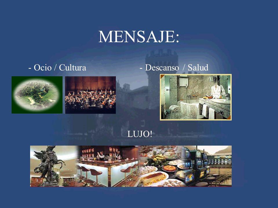 MENSAJE: - Ocio / Cultura- Descanso / Salud LUJO!