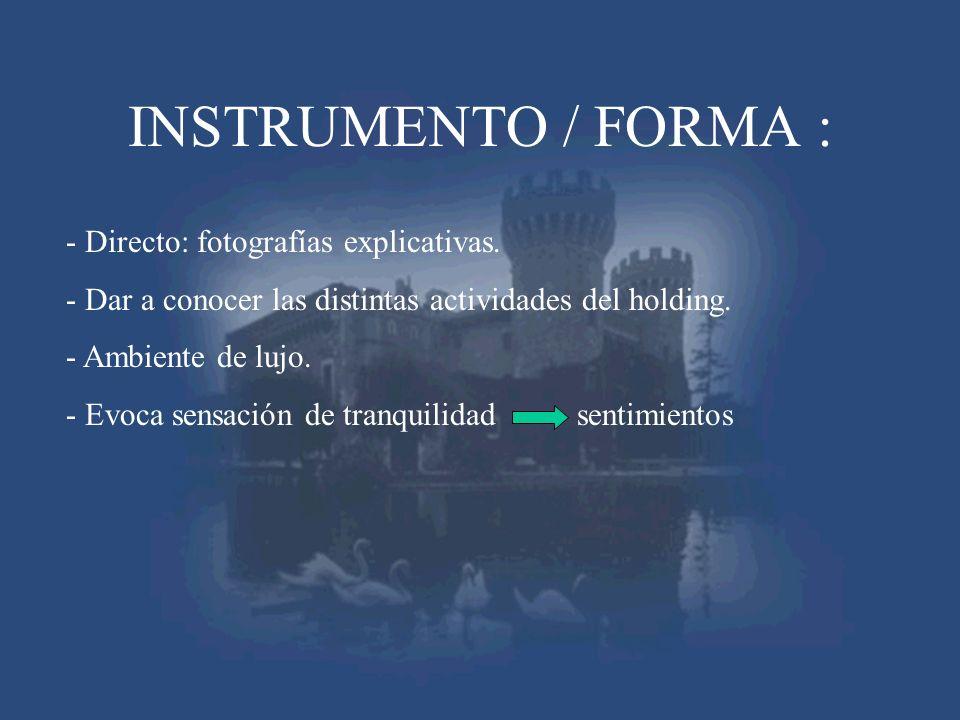 INSTRUMENTO / FORMA : - Directo: fotografías explicativas.